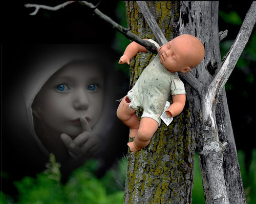 Broken doll on a tree branch